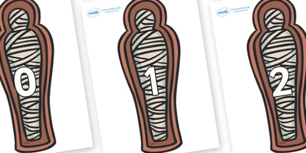 Numbers 0-50 on Mummies (Coffin) - 0-50, foundation stage numeracy, Number recognition, Number flashcards, counting, number frieze, Display numbers, number posters