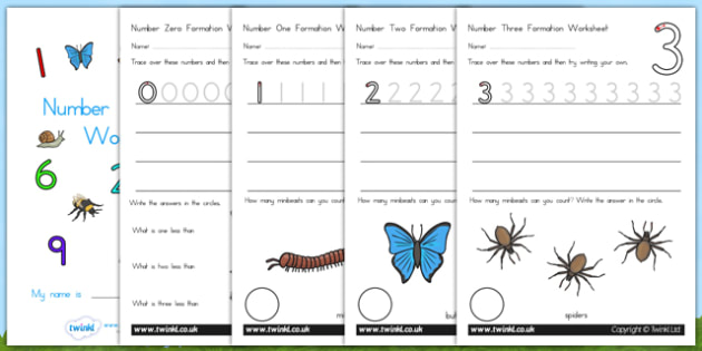 Number Formation Workbook Minibeasts - number forming, minibeast, overwriting