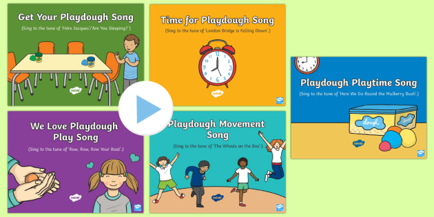 Playdough Play Songs and Rhymes PowerPoints Pack - Playdough Play, dough disco, finger gym, fine motor skills, physical development.