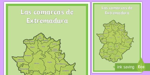 Mapa De Extremadura Comarcas.Poster Din A2 Las Comarcas De Extremadura Mapas