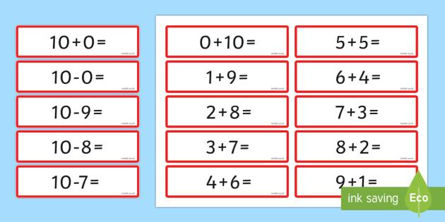 Number Bonds 10 Sentence Cards - number bonds, 10, sentence