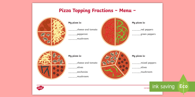 pizza topping fractions menu worksheet  worksheet  pizza fractions pizza topping fractions menu worksheet  worksheet  pizza fractions  worksheet  worksheets halves quarters and