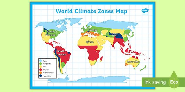World Climate Zones Map Teacher Made