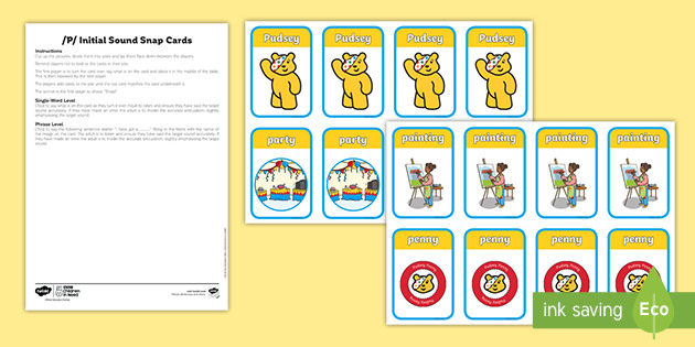 BBC Children in Need /P/ Initial Sound Snap Cards