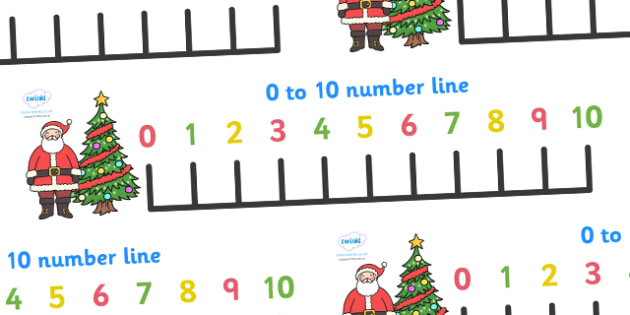0-10 Christmas Number Line Banner - 0-10, christmas, numberline