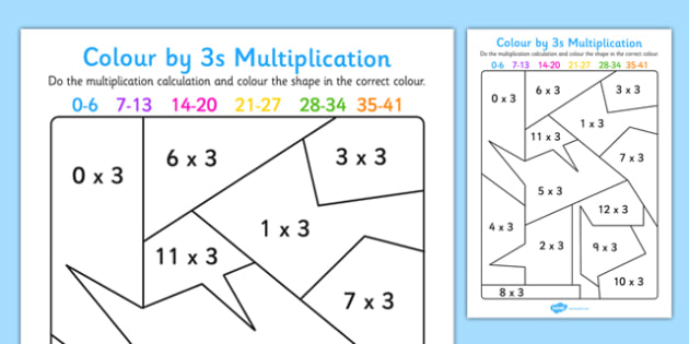Colour by 3s Multiplication Activity Worksheet - colour, 3s, multiplication, activity, worksheet