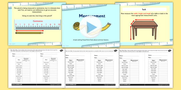 Measurements Appropriate Measures PowerPoint with Worksheet /