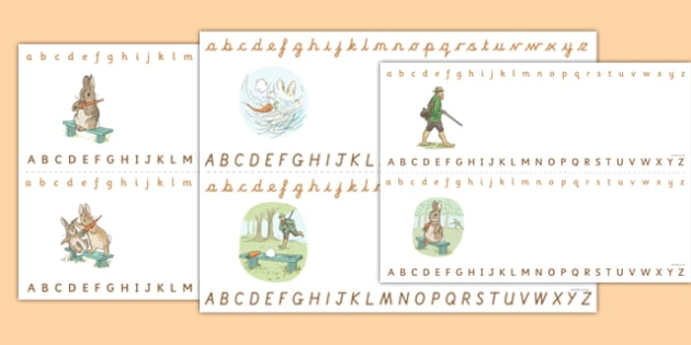 Beatrix Potter - The Story of a Fierce Bad Rabbit Alphabet Strips - beatrix potter, fierce, bad, rabbit