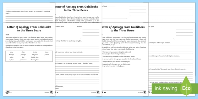 Letter of Apology to the Three Bears Writing Template - Goldilocks and the Three Bears, letter writing, apology, writing template, creative writing, activit