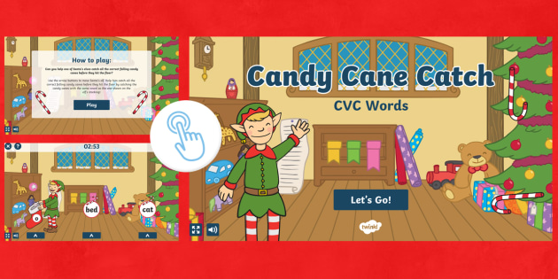 new candy cane catch cvc words game christmas festive literacy