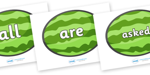 Tricky Words on Melons (Horizontal) - Tricky words, DfES Letters and Sounds, Letters and sounds, display, words