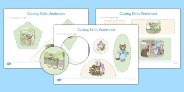 Beatrix Potter - The Tale of Tom Kitten Cutting Skills Worksheet - beatrix potter, tom kitten