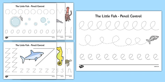 The Little Fish Pencil Control Sheets - tiddler, early years, eyfs, nursery, reception, fish, under the sea, ocean, handwriting, fine, motor, skills, control, develop, pencil grip