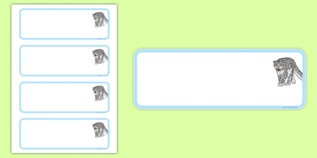 Snow Leopard Themed Editable Draw Peg Name Labels - snow leopard, editable, drawer, peg, name, label, display