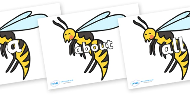 100 High Frequency Words on Wasps - High frequency words, hfw, DfES Letters and Sounds, Letters and Sounds, display words