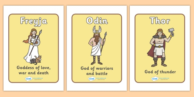 Viking Gods Display Posters - Vikings, display, gods, god, poster, England, history, banner, sign, longboat, Freyja, Odin, Thor, Frey, Loki, Norse, Norway, Wessex, Danelaw, York, thatched house, shield