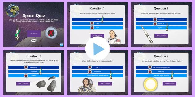 KS2 Space Quiz PowerPoint - Planets, earth, sun, moon, landing