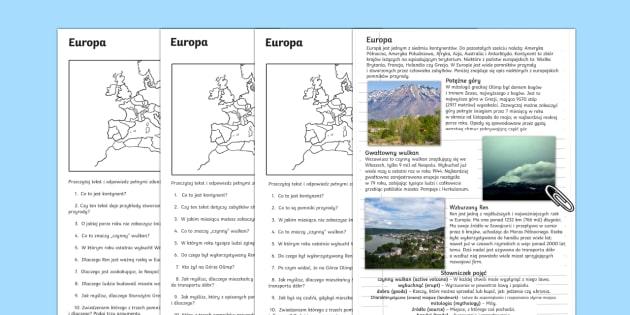 Czytanie ze zrozumieniem Pomniki przyrody w Europie  - Europa, góry, Olimp, rzeka, Ren, rzeki, wulkan, Wezuwiusz, Pompeje, Włochy, pomniki, pomnik, przyr
