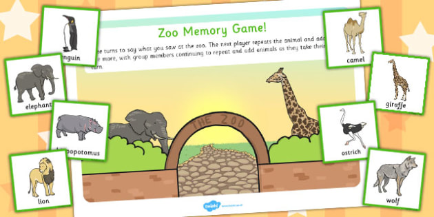 Zoo Memory Game - games, activity, activities, animals, remember