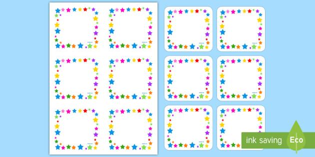 Multicoloured Stars Editable Gratnell Peg Labels - Multicoloured Stars Editable Gratnell  Peg Labels - star, labels, stardesign tray labels editable, l