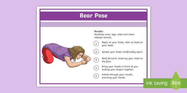 Yoga Bear Pose Step-by-Step Instructions - Yoga, health, stress, calm, peace, KS1, KS2, well being, anxiety, work life balance, WLB