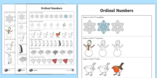 NEW * Winter-Themed Ordinal Numbers Worksheet - Maths, Numeracy ...