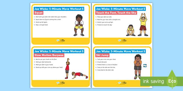 Joe Wicks: 5-Minute Move Workout 5 Cards
