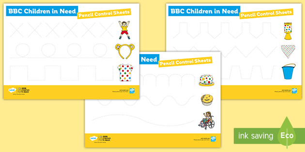 BBC Children in Need Pencil Control Sheets