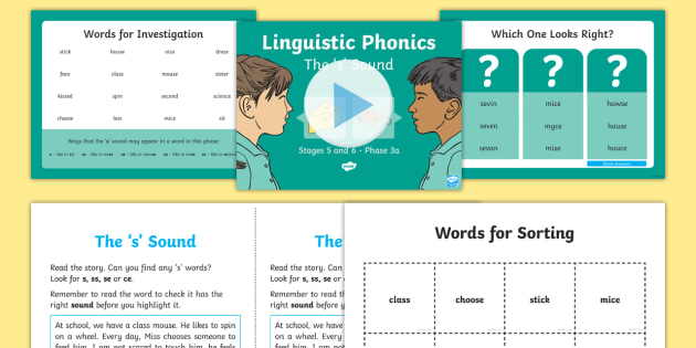 Northern Ireland Linguistic Phonics Stage 5 and 6 Phase 3a, 's' Sound PowerPoint  - NI, sound search, word sort, investigation