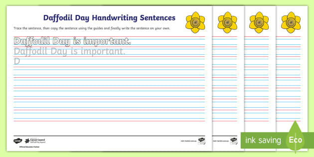 FREE! - Daffodil Day Year 2 Handwriting Practice Worksheets