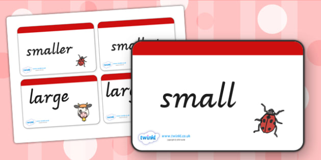 Size Word Cards - size, measure, word cards, cards, visual aids
