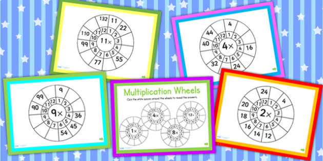 Multiplication Wheels Math Challenge PowerPoint - times, numeracy