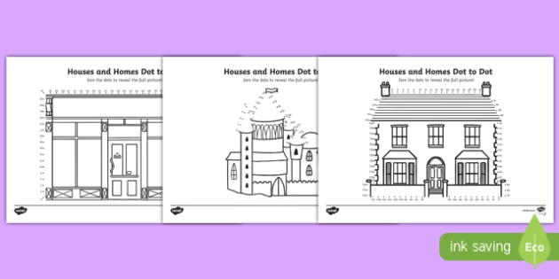 Houses and Homes Counting in 2s Dot to Dot Activity Sheet Pack, worksheet