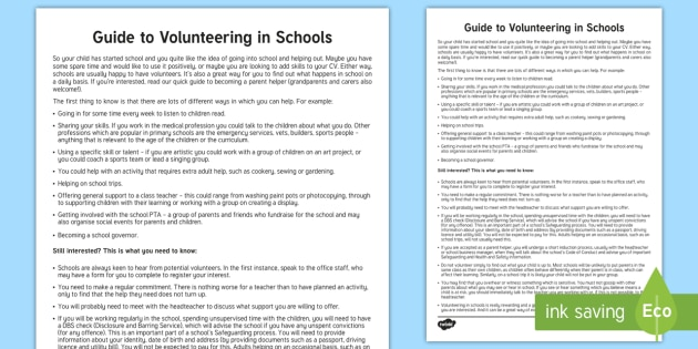 Guide to Volunteering in Schools Parent and Carer Information Sheet - parents, advice, schools, helping, volunteering, helper, classroom.