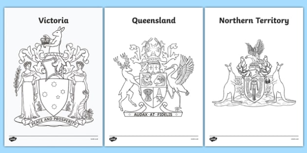 Australian States and Territories Coat of Arms Colouring Sheets - australia, coats of arms, emblems, states, territories, New South Wales, Victoria, Queensland, South Australia, Tasmania, Western Australia, Northern Territory, Australian Capital Terr