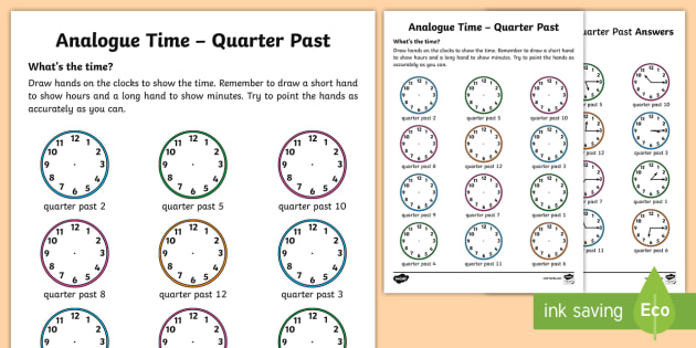 analogue time quarter past worksheet worksheet ni ks1 numeracy time. Black Bedroom Furniture Sets. Home Design Ideas