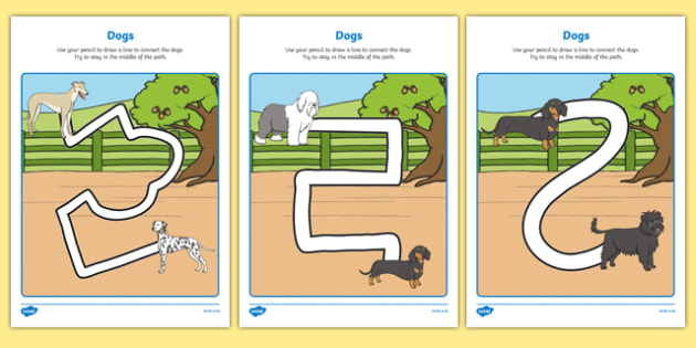 Dog-Themed Pencil Control Path Activity Sheet Pack - Dame Lynley Dodd, hairy maclary, dog, pencil control path, worksheet