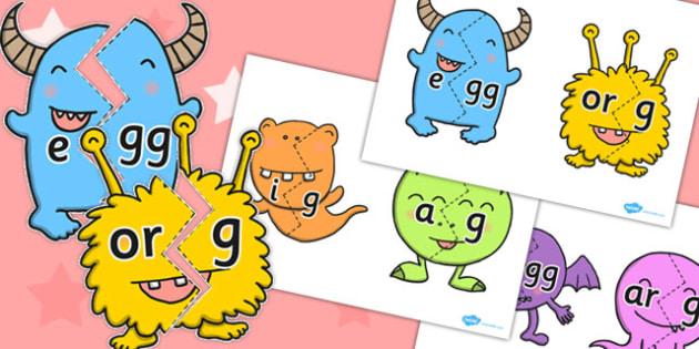 Vowel and Final G Sound Monster Jigsaws - final g, sound, monster
