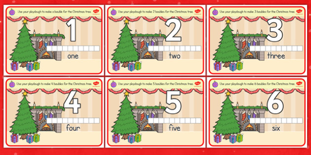 Christmas Counting Activity Playdough Mats - christmas, activity
