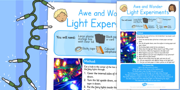 Light Experiments Awe and Wonder Science Activity - science, awe