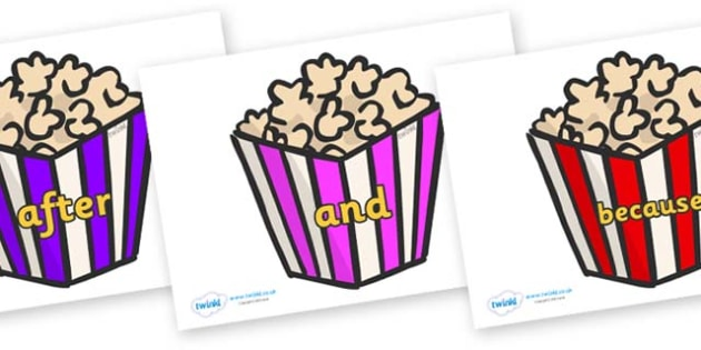 Connectives on Popcorn - Connectives, VCOP, connective resources, connectives display words, connective displays