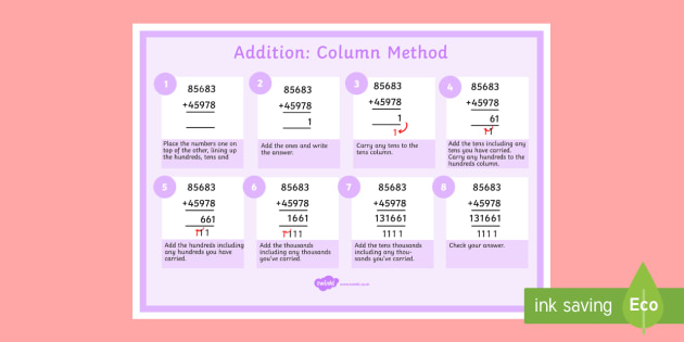 Addition of 5 Digit Numbers Display Poster - addition, 5 digit numbers, display poster, display, poster, 5 digit, numbers, add