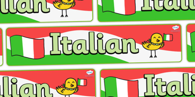 Italian Display Banner - MFL, Italian, Modern Foreign Languages, foundation, languages, display, italiano, banner, display