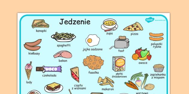 Plansza ze słownictwem Jedzenie po polsku - przedszkole