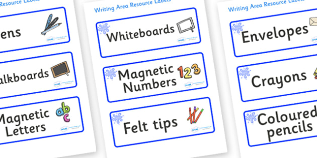 Blue Themed Editable Writing Area Resource Labels - Themed writing resource labels, literacy area labels, writing area resources, Label template, Resource Label, Name Labels, Editable Labels, Drawer Labels, KS1 Labels, Foundation Labels, Foundation S