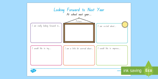 Looking Forward to Next Year Write Up Activity Sheet