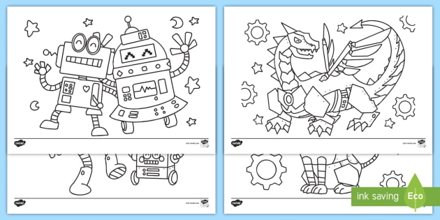 KS1 Robot Coloring Worksheets (teacher Made)