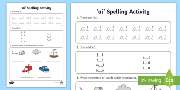 ai Spelling Activity - ai, spelling activity, spell, spelling