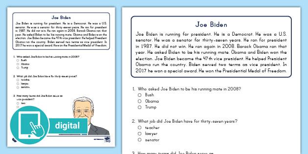 First Grade Joe Biden Reading Passage Comprehension Activity