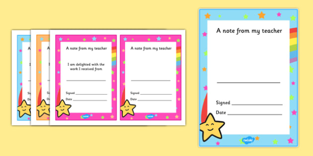 Note From Teacher Delighted With Work - note from teacher delighted with work, delighted with work, note from teacher, notes, praise, comment, note, teacher, teacher's, parents, delighted, work, good work